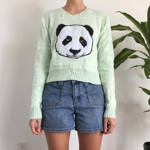 Mint Sweater with Panda Decal